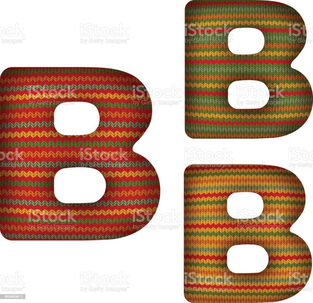 KnittedLetterB vector art illustration