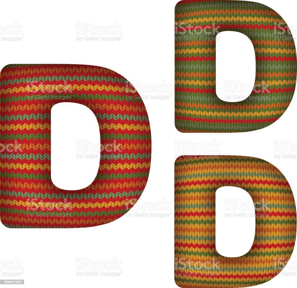 KnittedLetterD vector art illustration