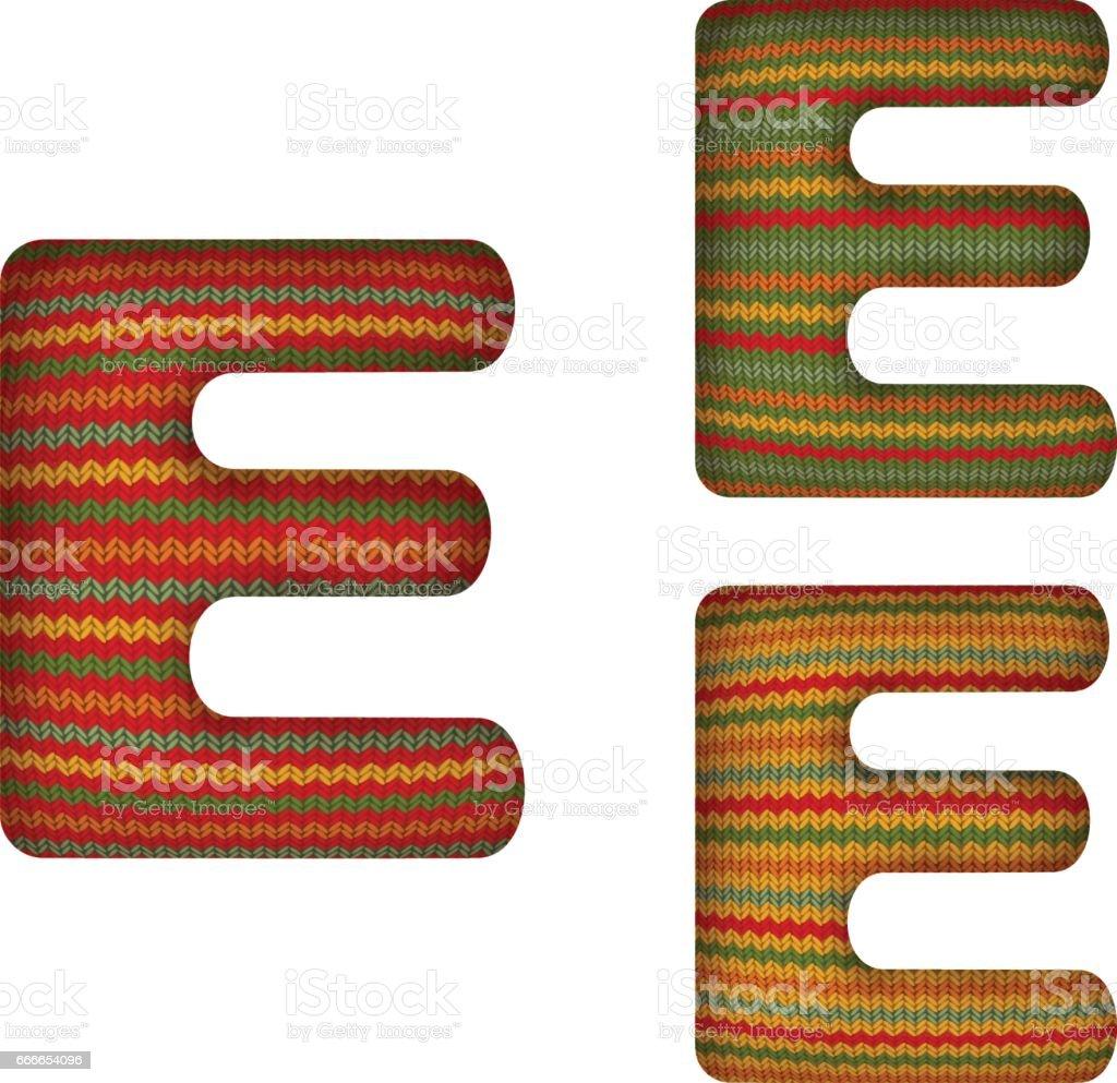 KnittedLetterE vector art illustration