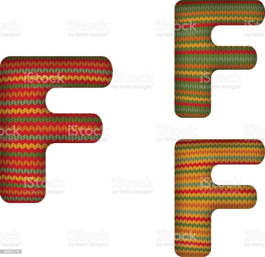 KnittedLetterF vector art illustration