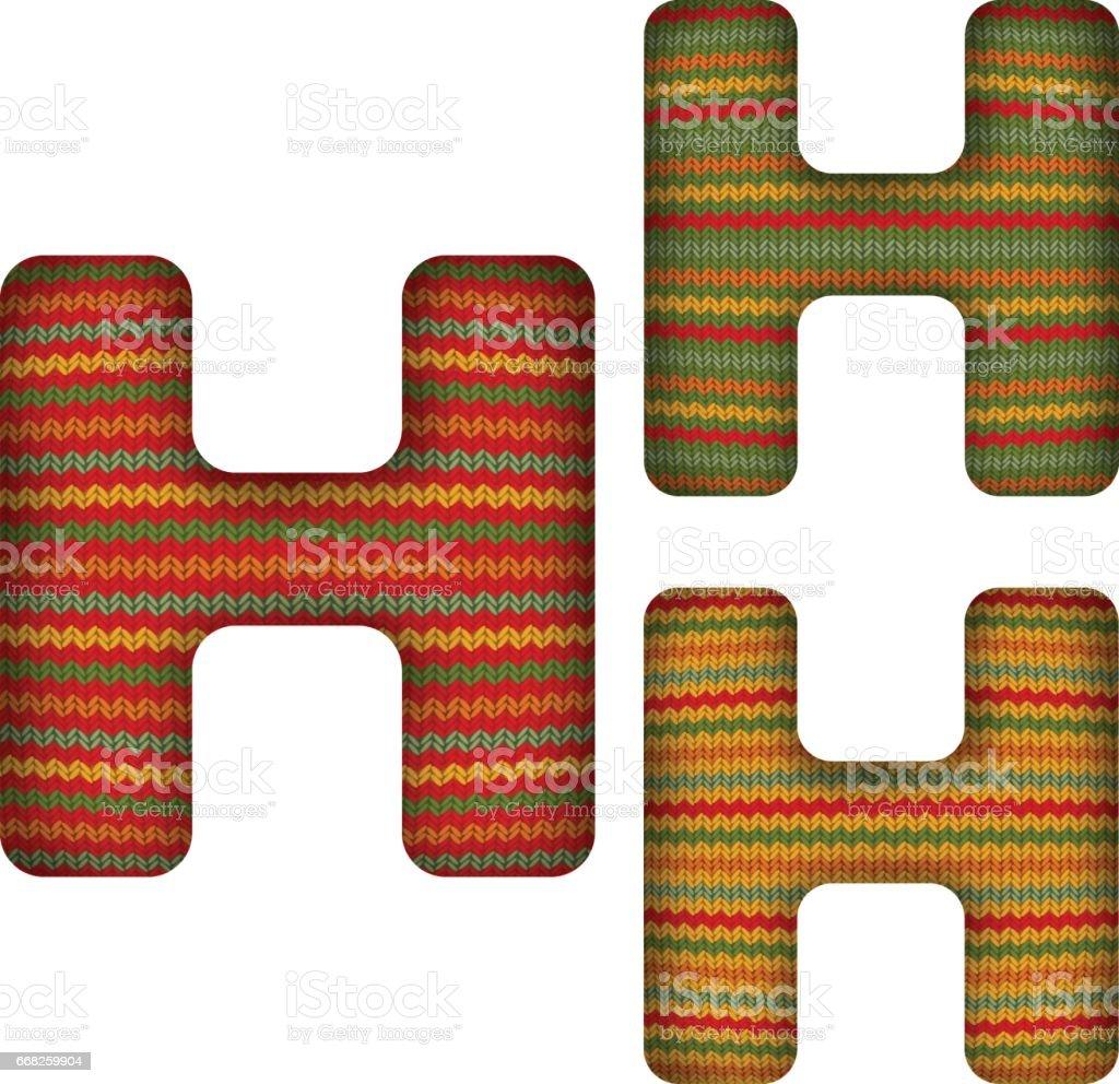 KnittedLetterH vector art illustration