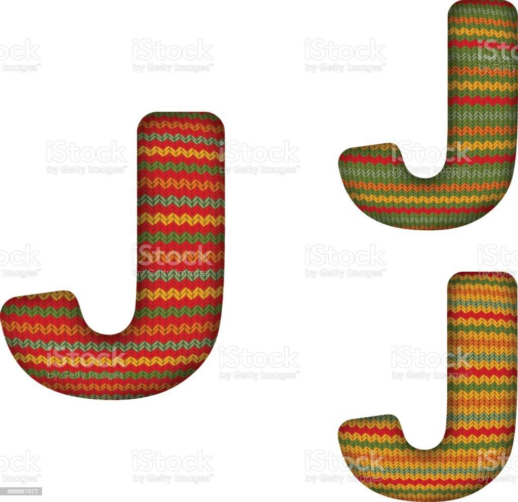 KnittedLetterJ vector art illustration