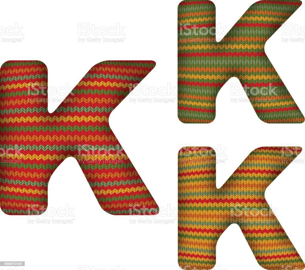 KnittedLetterK vector art illustration