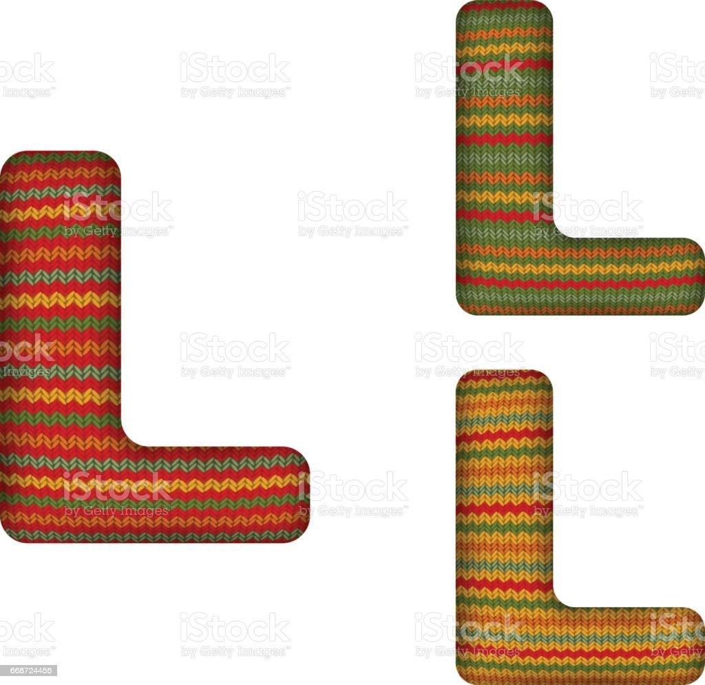 KnittedLetterL vector art illustration