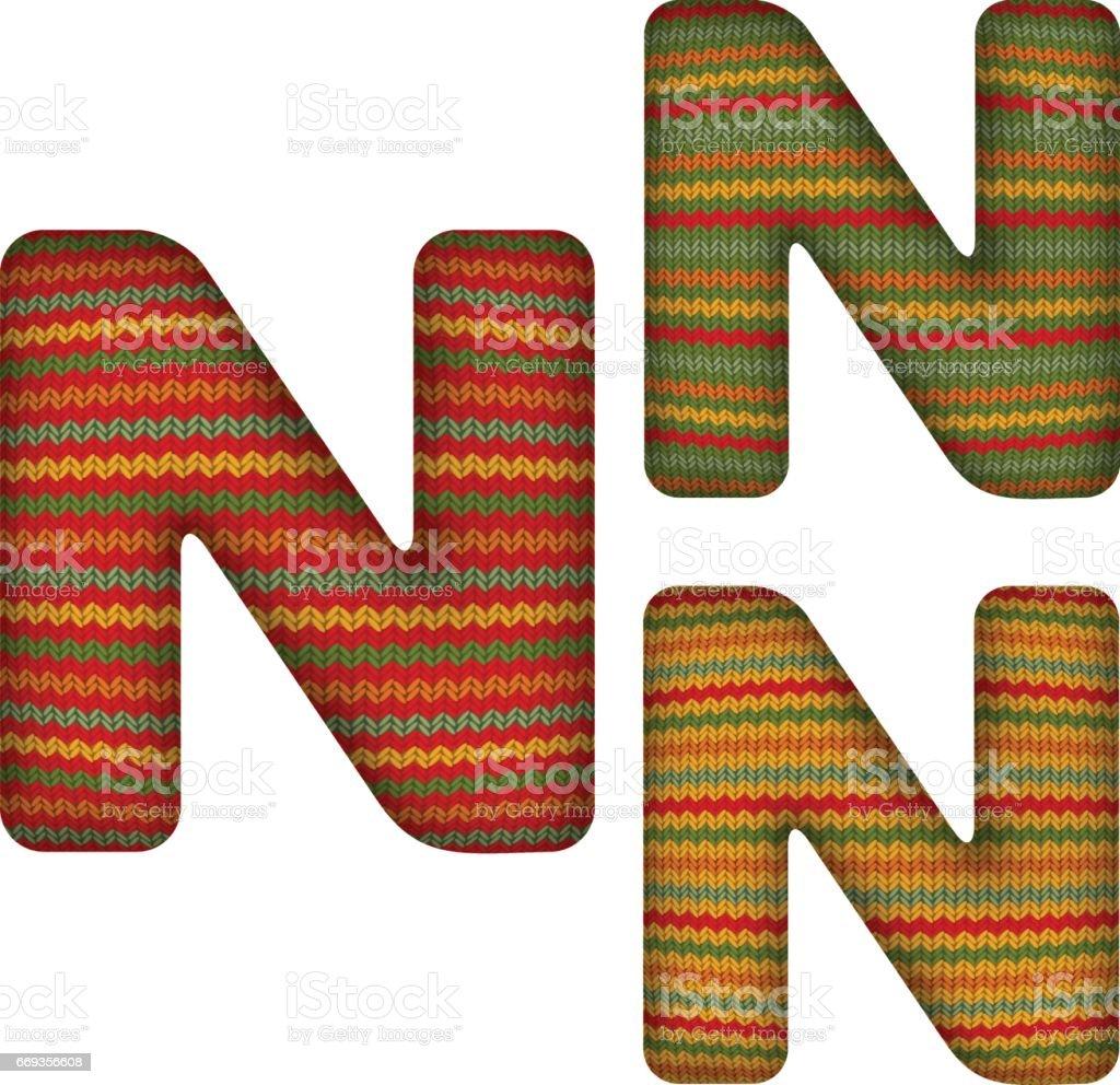 KnittedLetterN vector art illustration