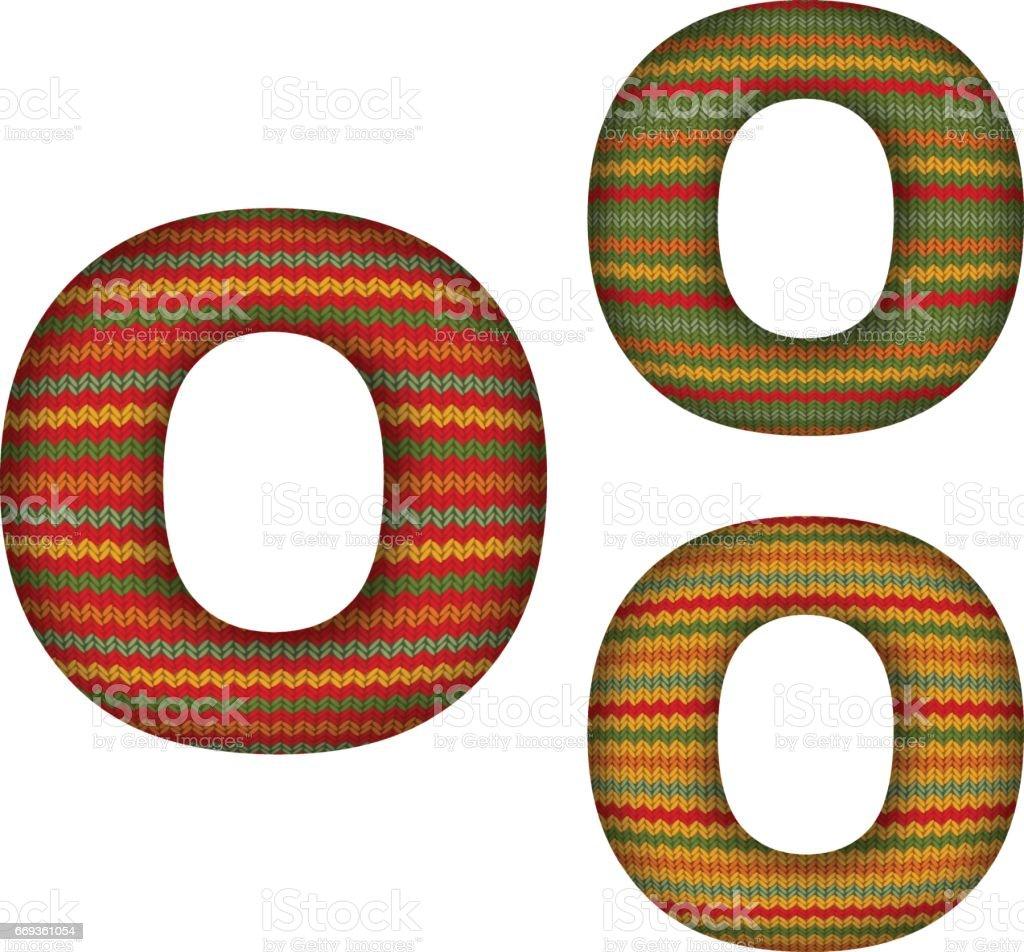 KnittedLetterO vector art illustration