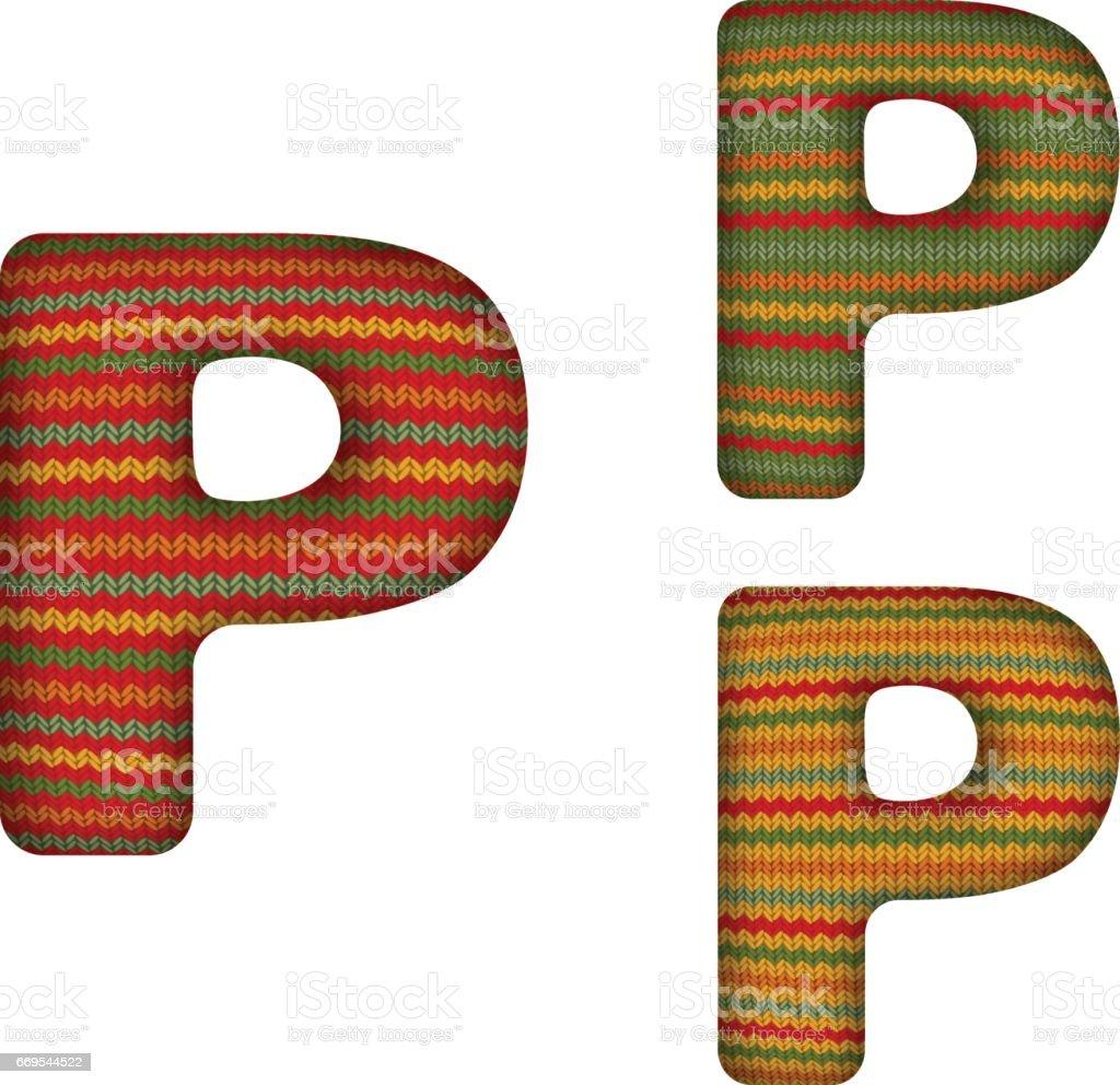 KnittedLetterP vector art illustration