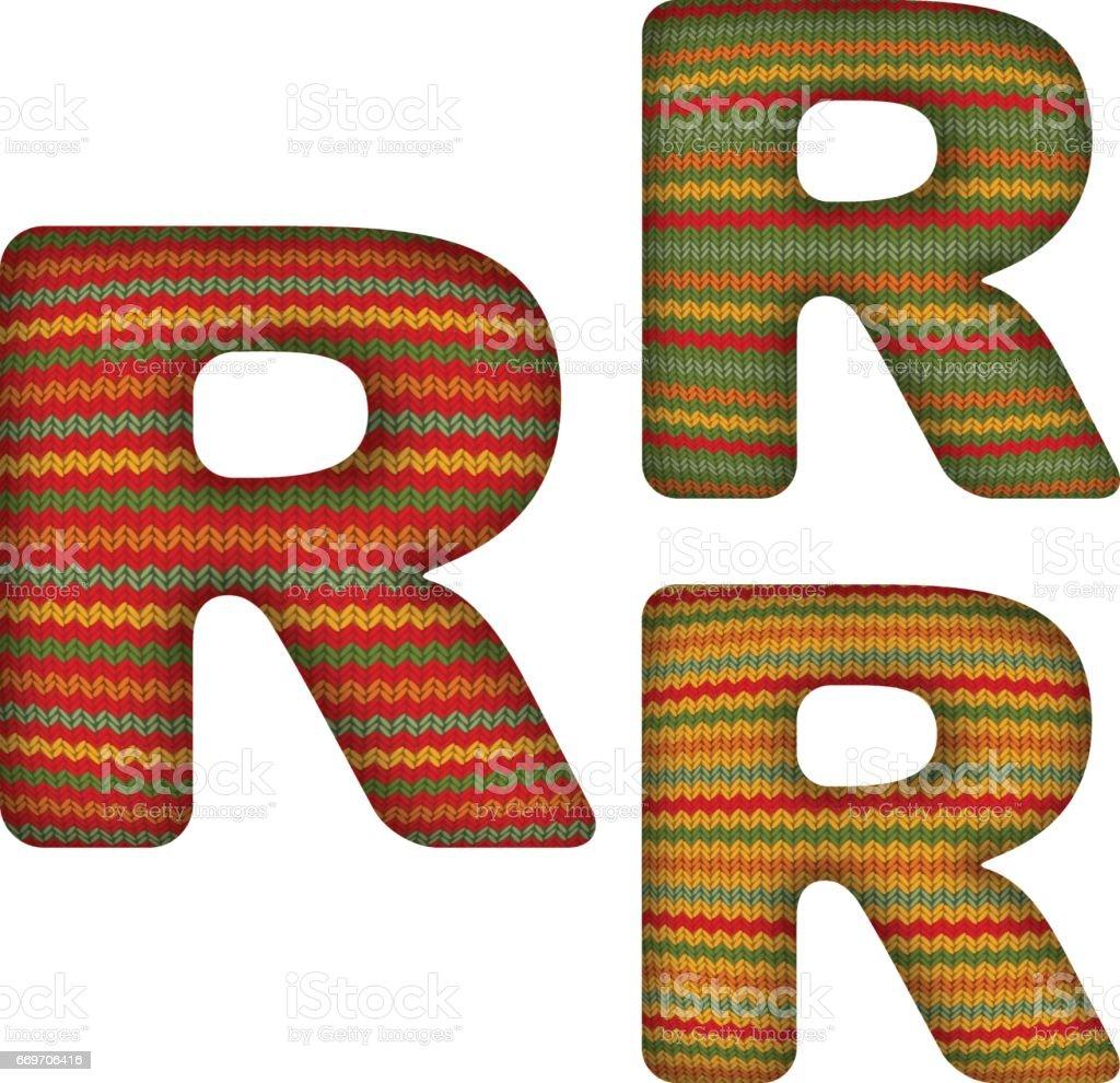 KnittedLetterR vector art illustration