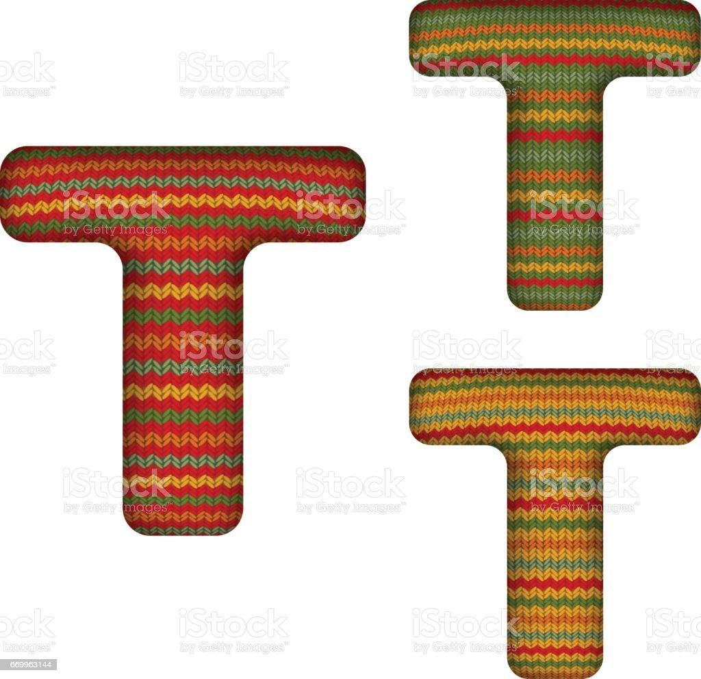KnittedLetterT vector art illustration