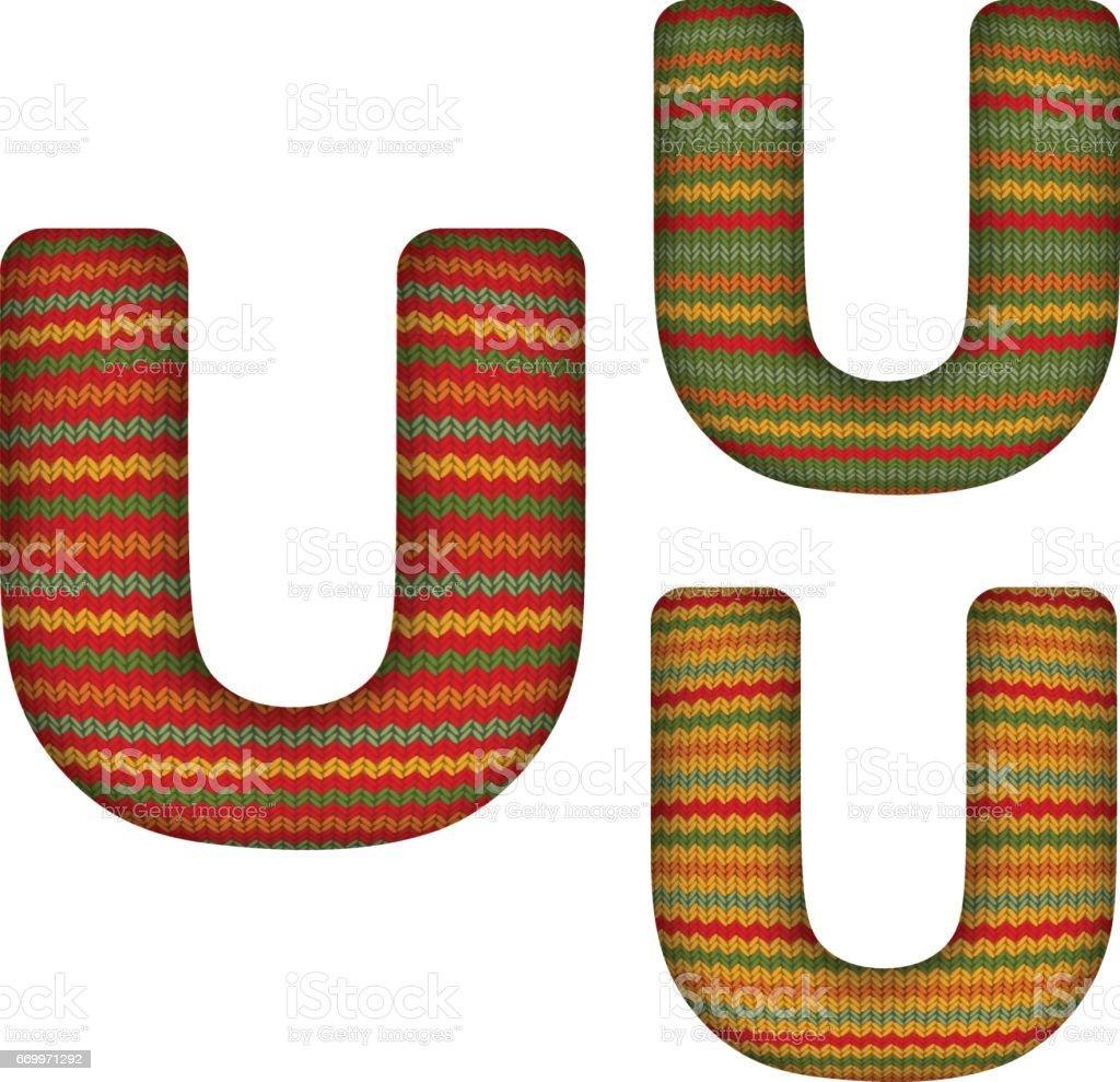 KnittedLetterU vector art illustration