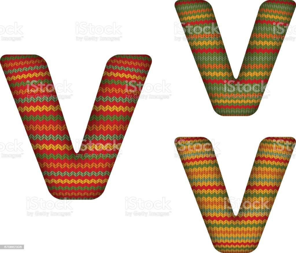 KnittedLetterV vector art illustration
