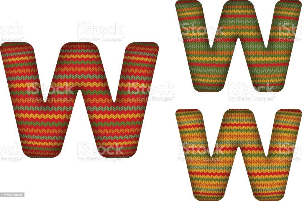 KnittedLetterW vector art illustration