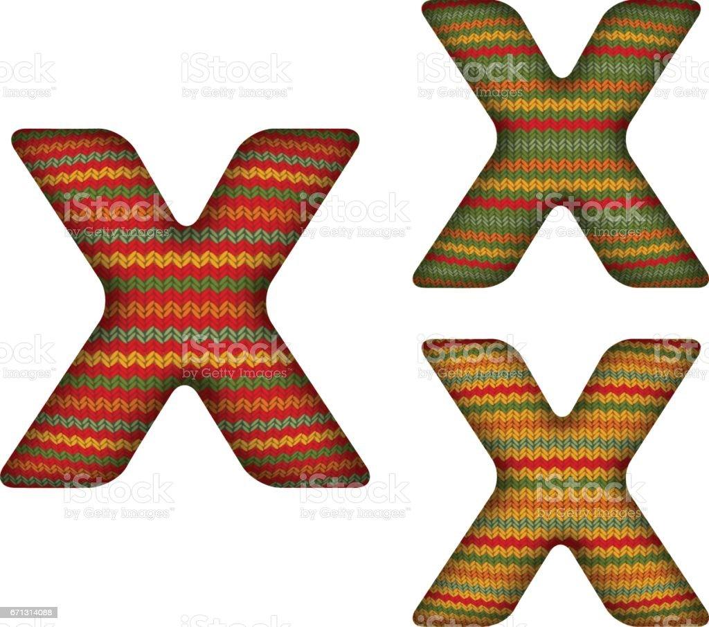 KnittedLetterX vector art illustration