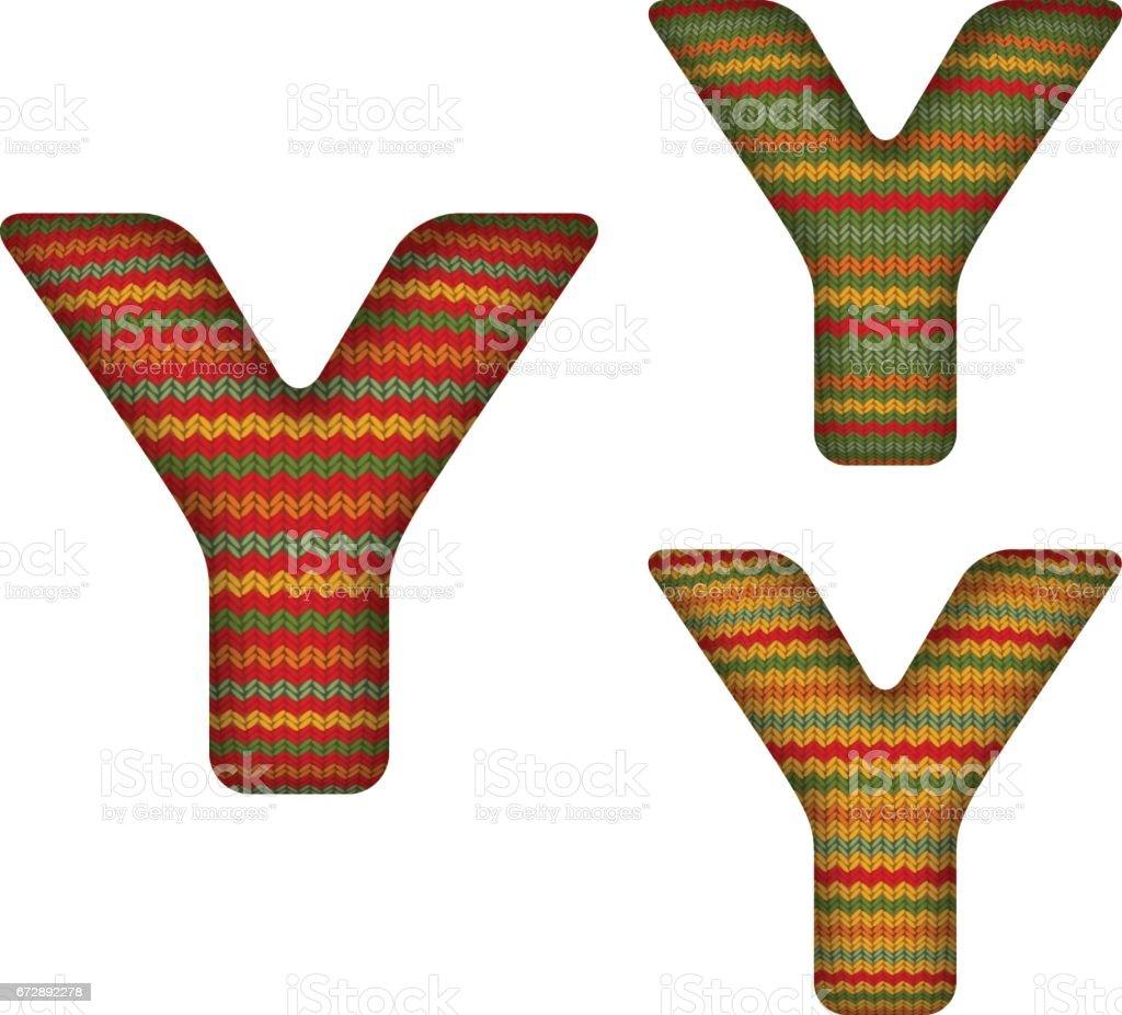 KnittedLetterY vector art illustration