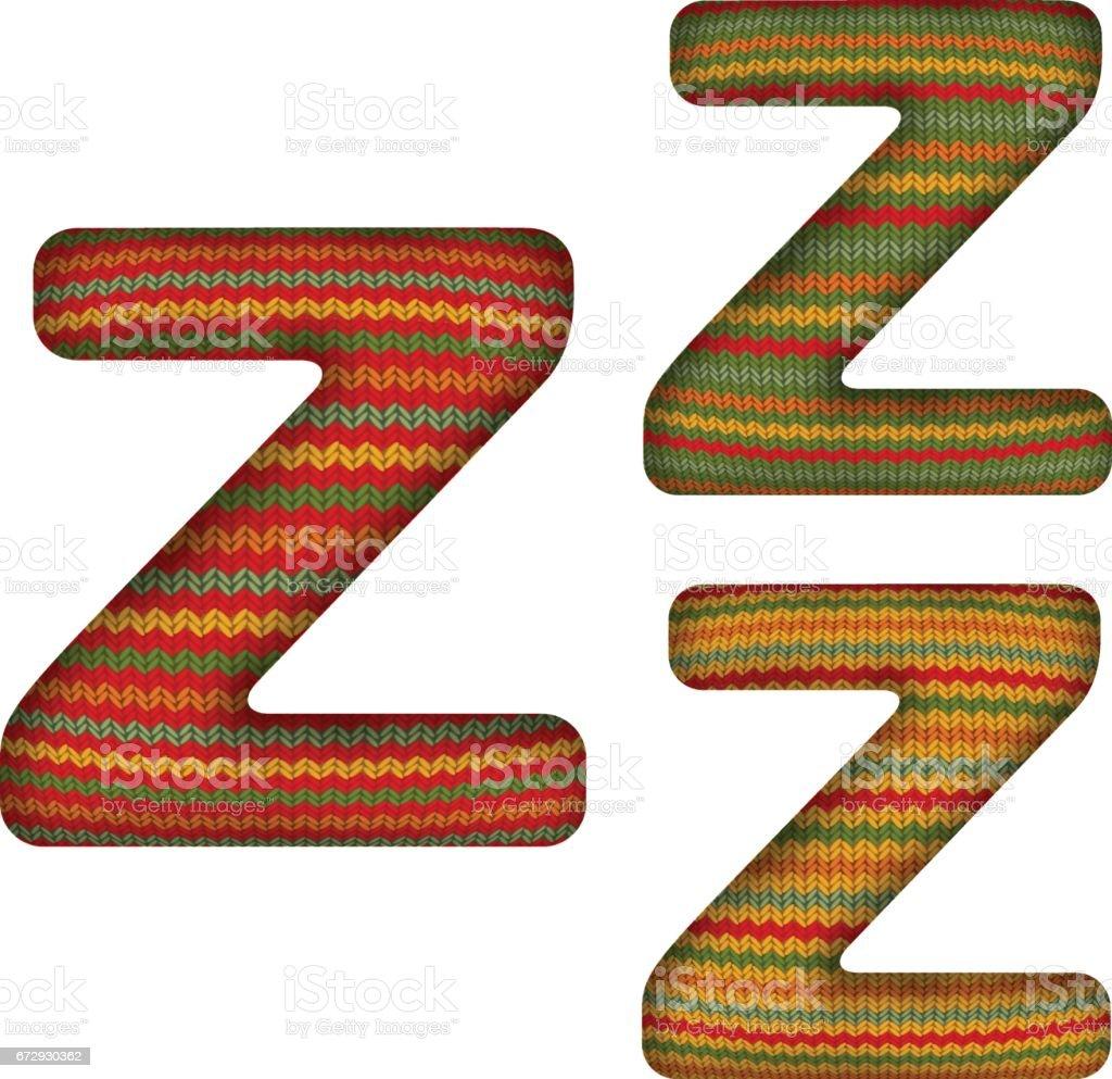 KnittedLetterZ vector art illustration