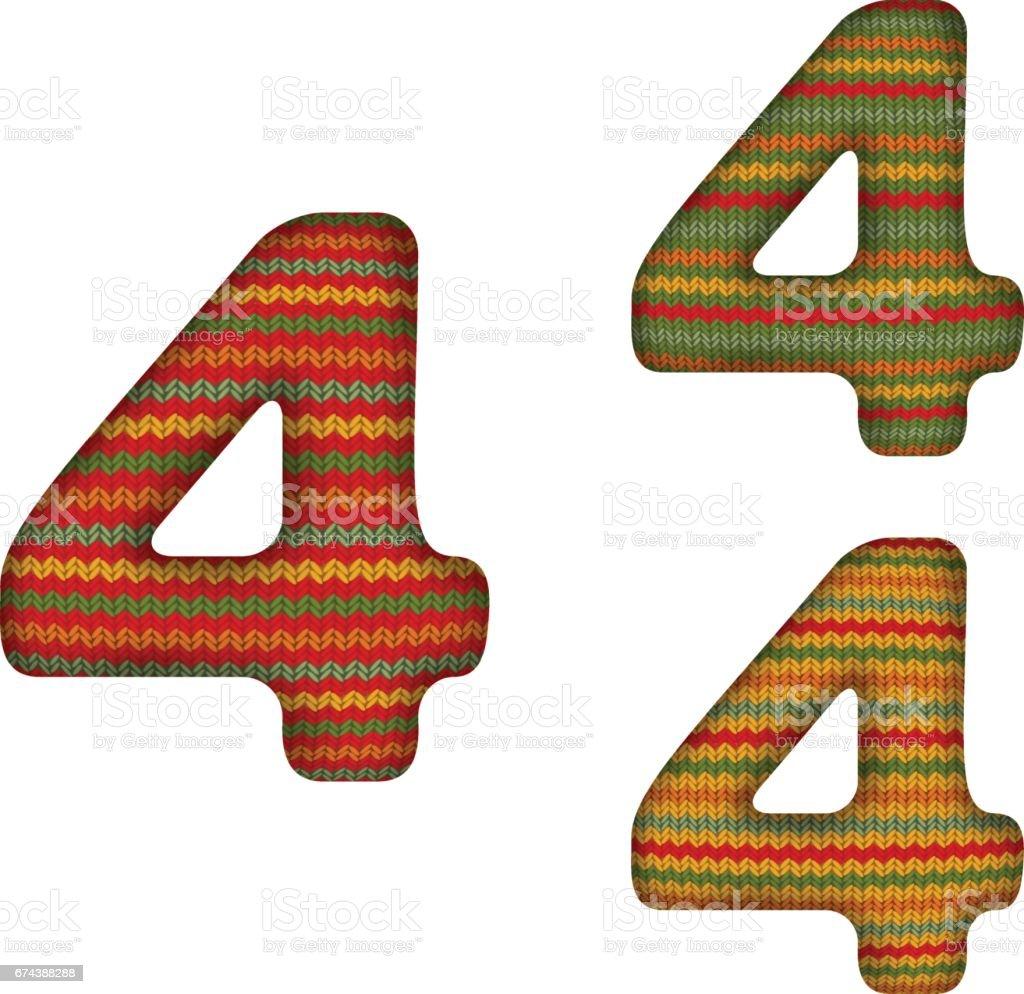 KnittedNumberFour vector art illustration