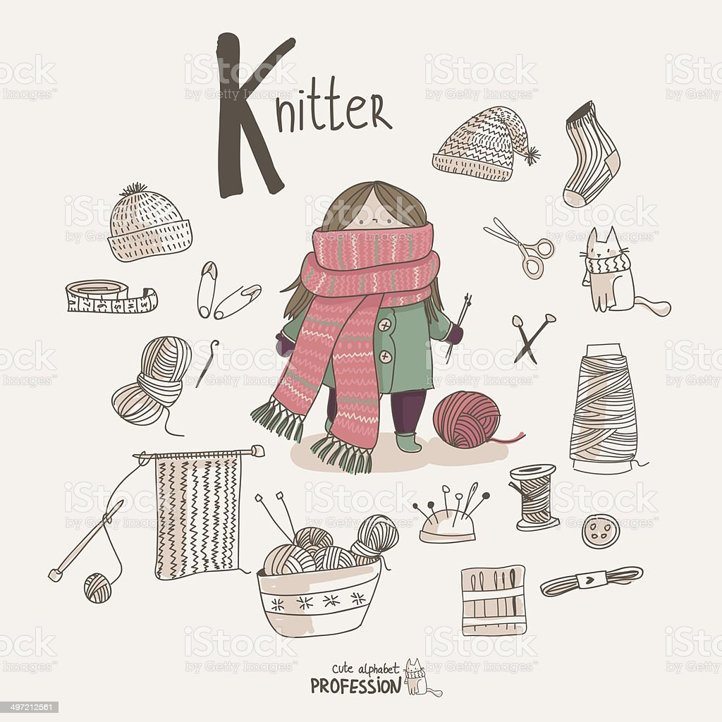 Knitter vector art illustration