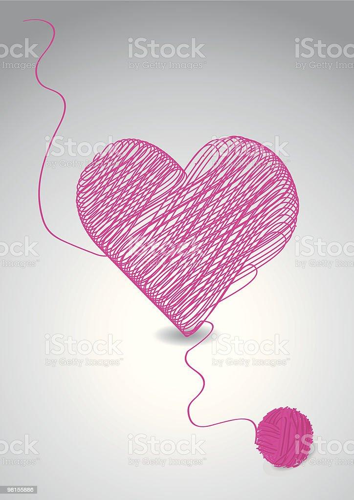 Knitting a heart vector art illustration