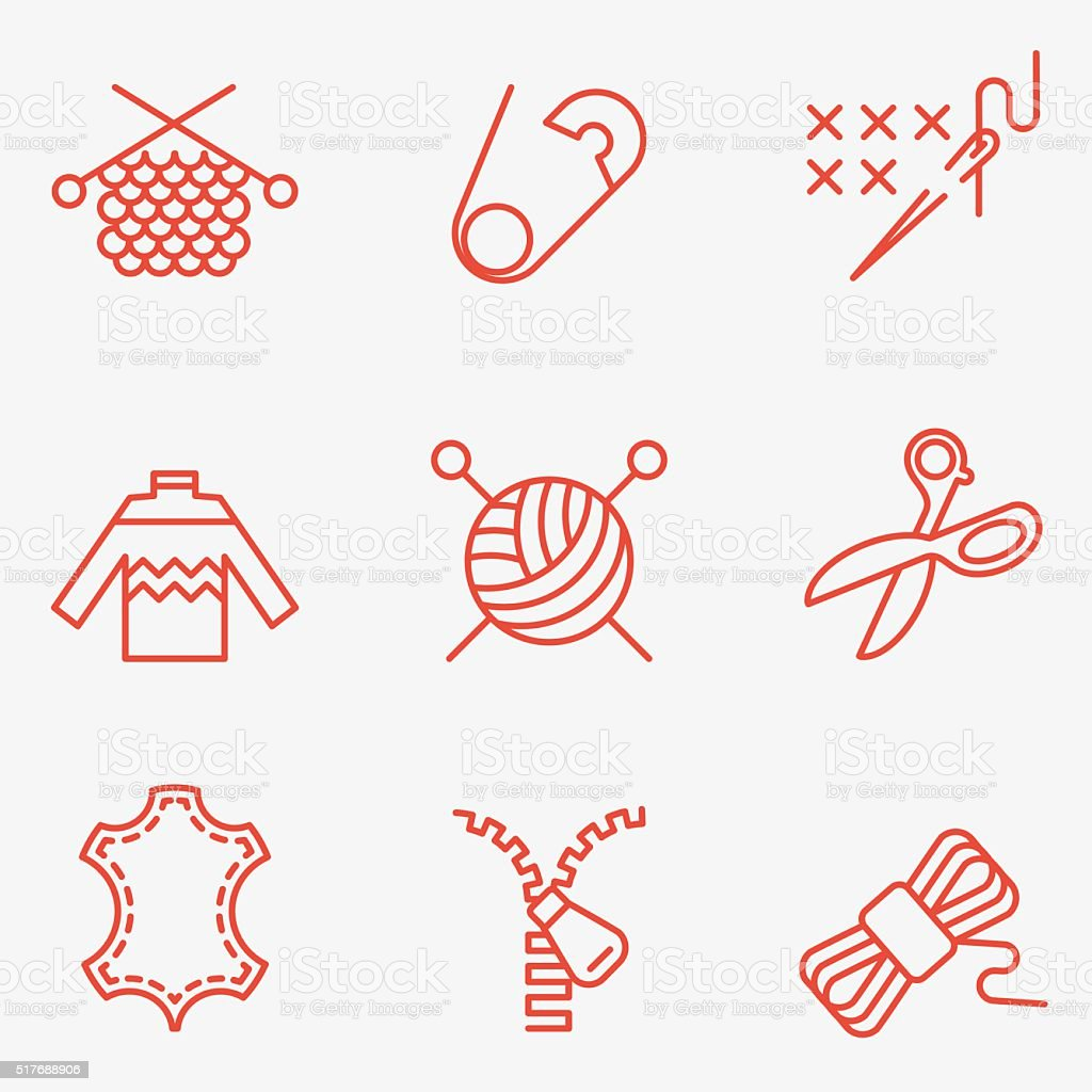 Knitting and needlework icons vector art illustration