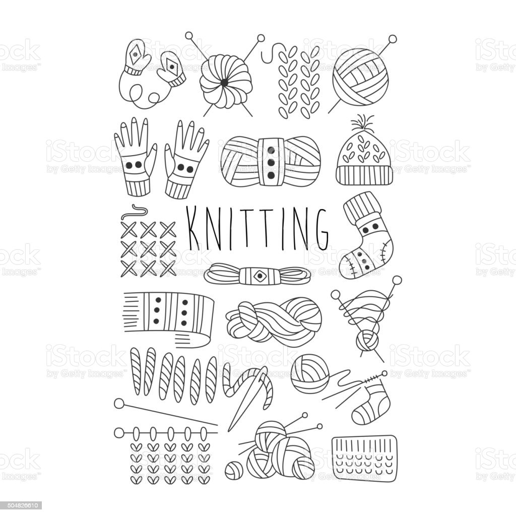 Knitting. Black and White Vector Hand drawn Set vector art illustration