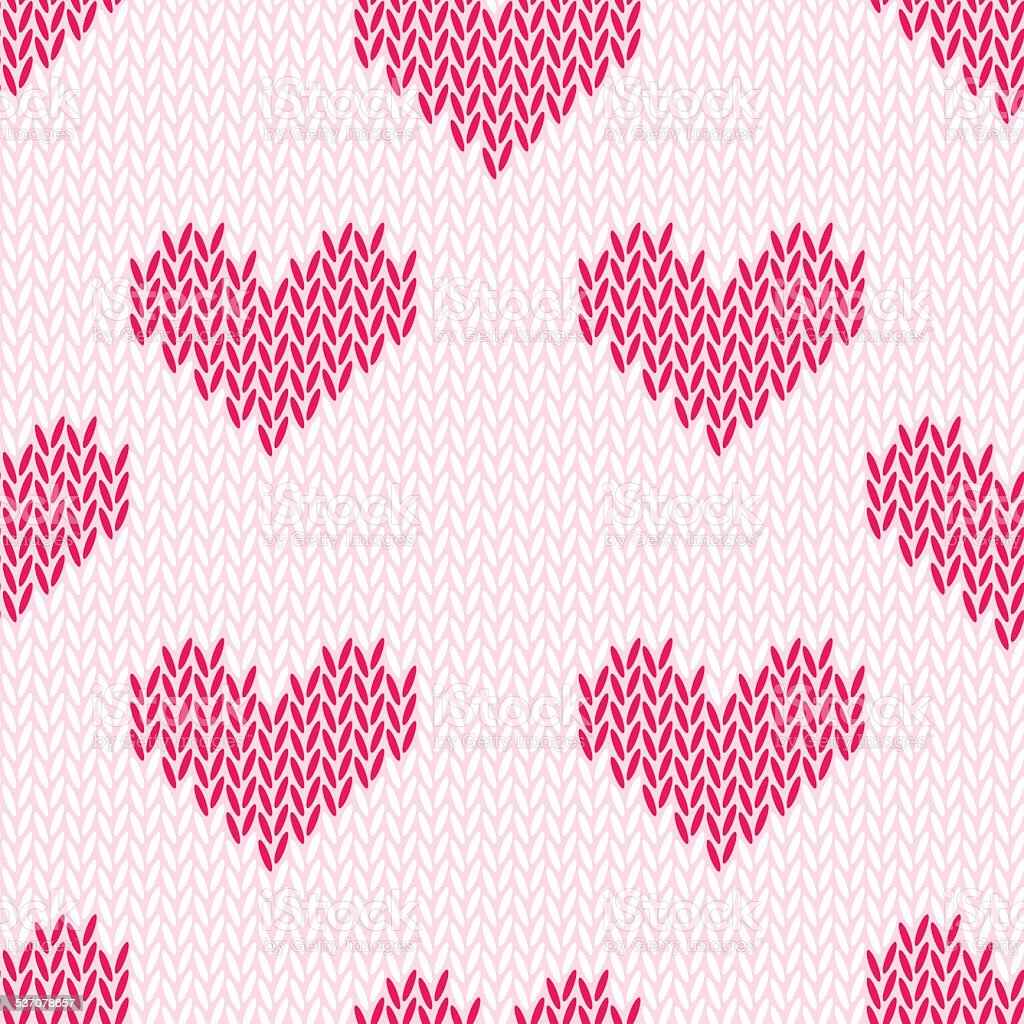 Knitting hearts simple seamless vector print vector art illustration