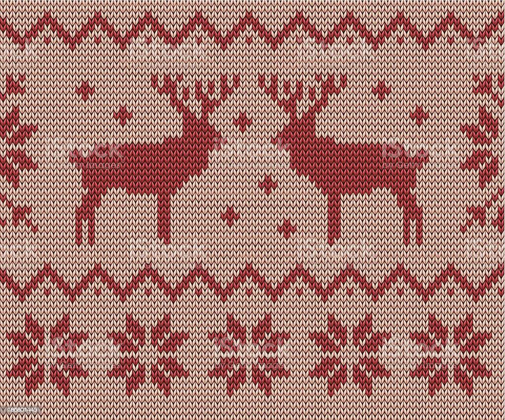Knitting pattern with deers and snowflakes vector art illustration