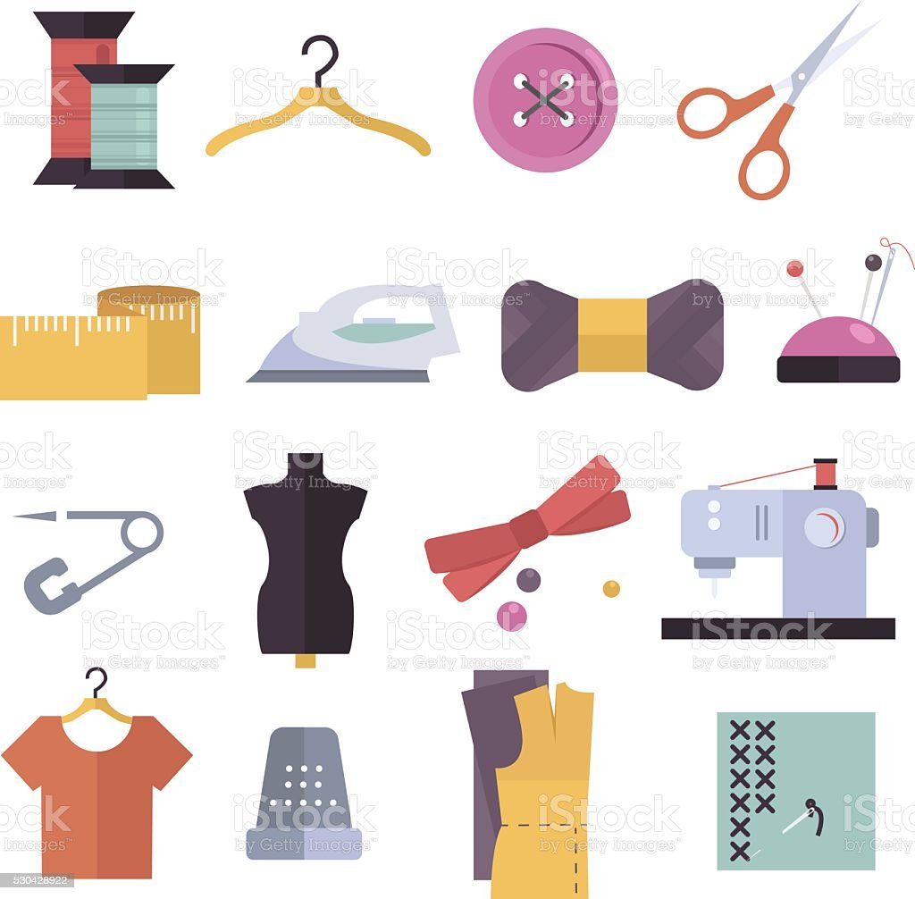 Knitting, sewing and needlework flat icons. Knitting items, sewing equipment vector art illustration