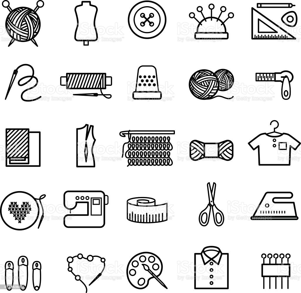 Knitting, sewing and needlework icons vector art illustration