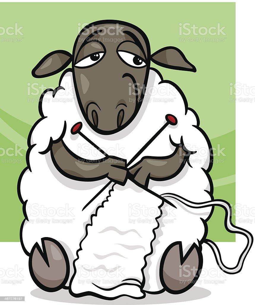 knitting sheep cartoon illustration vector art illustration