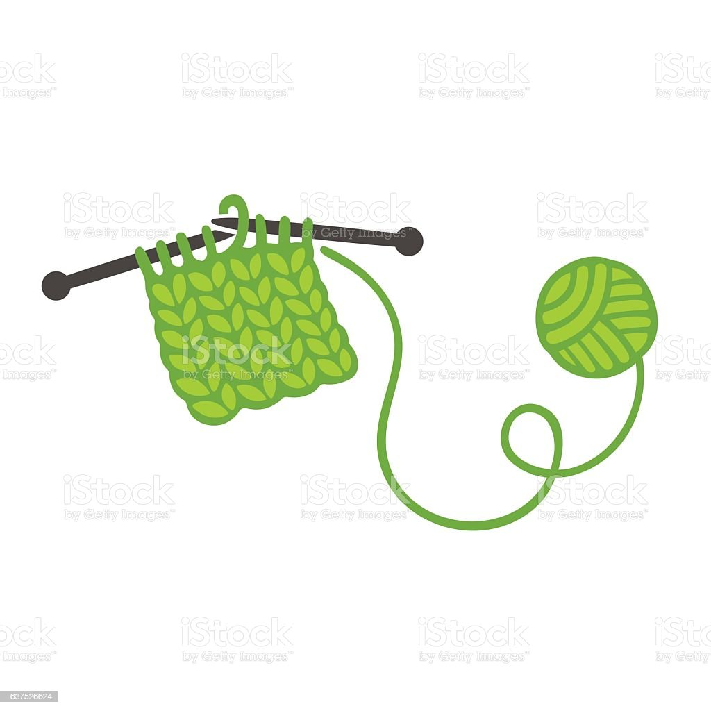Knitting with needles and ball of yarn vector art illustration