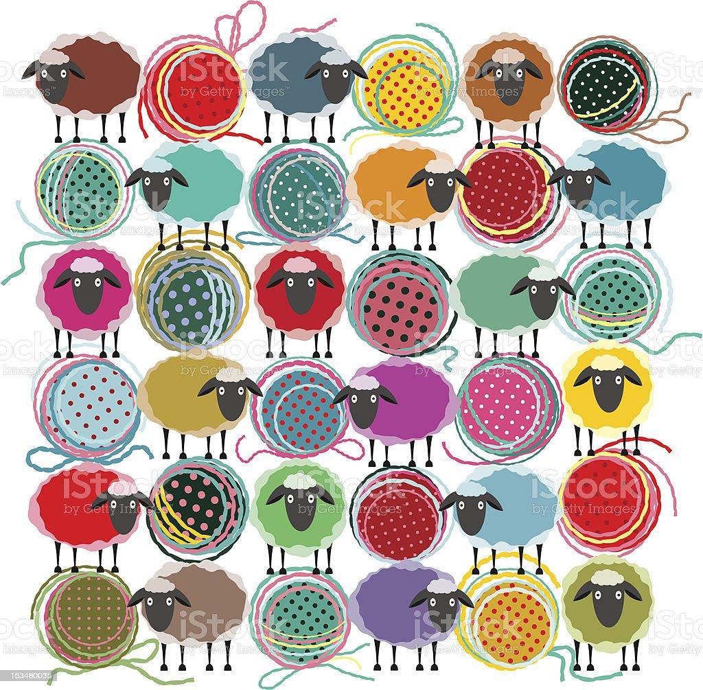Knitting Yarn Balls and Sheep Abstract Composition vector art illustration