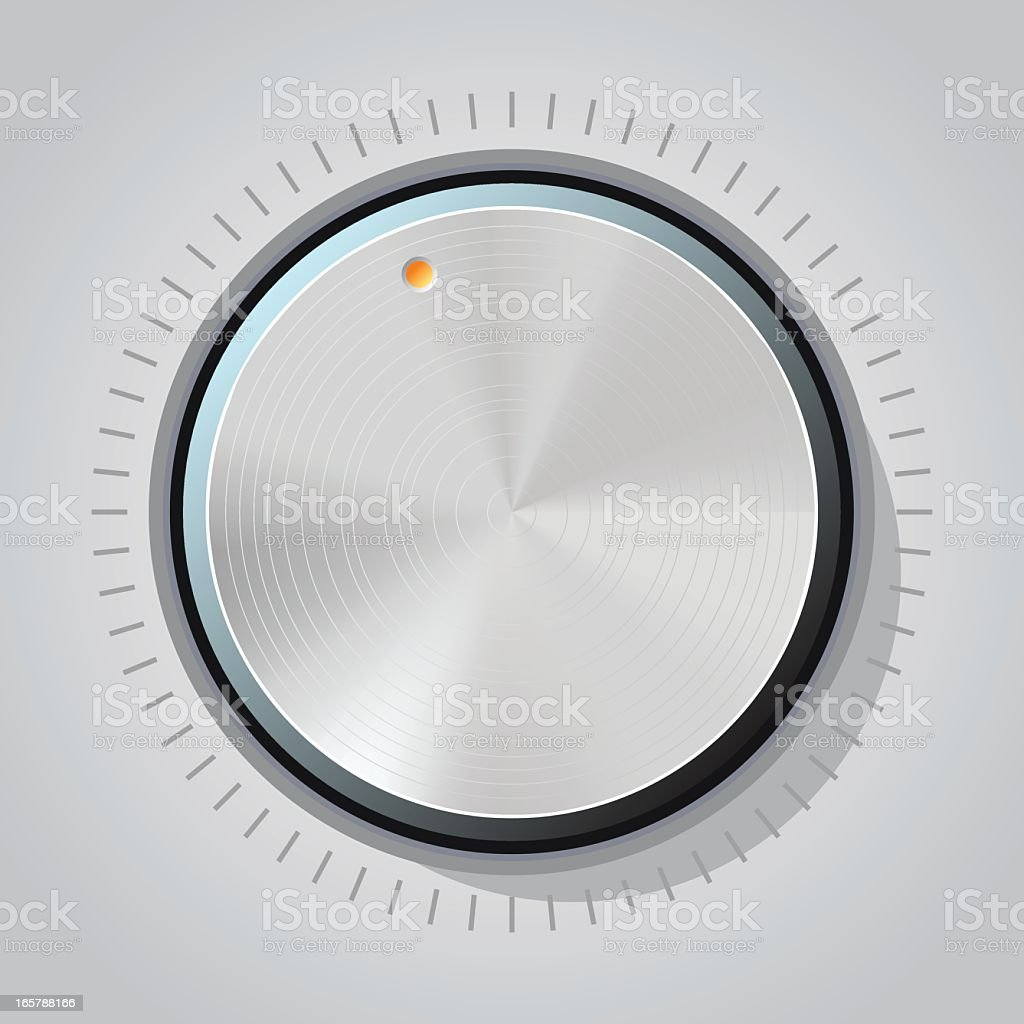 Knob on a machine with red button vector art illustration