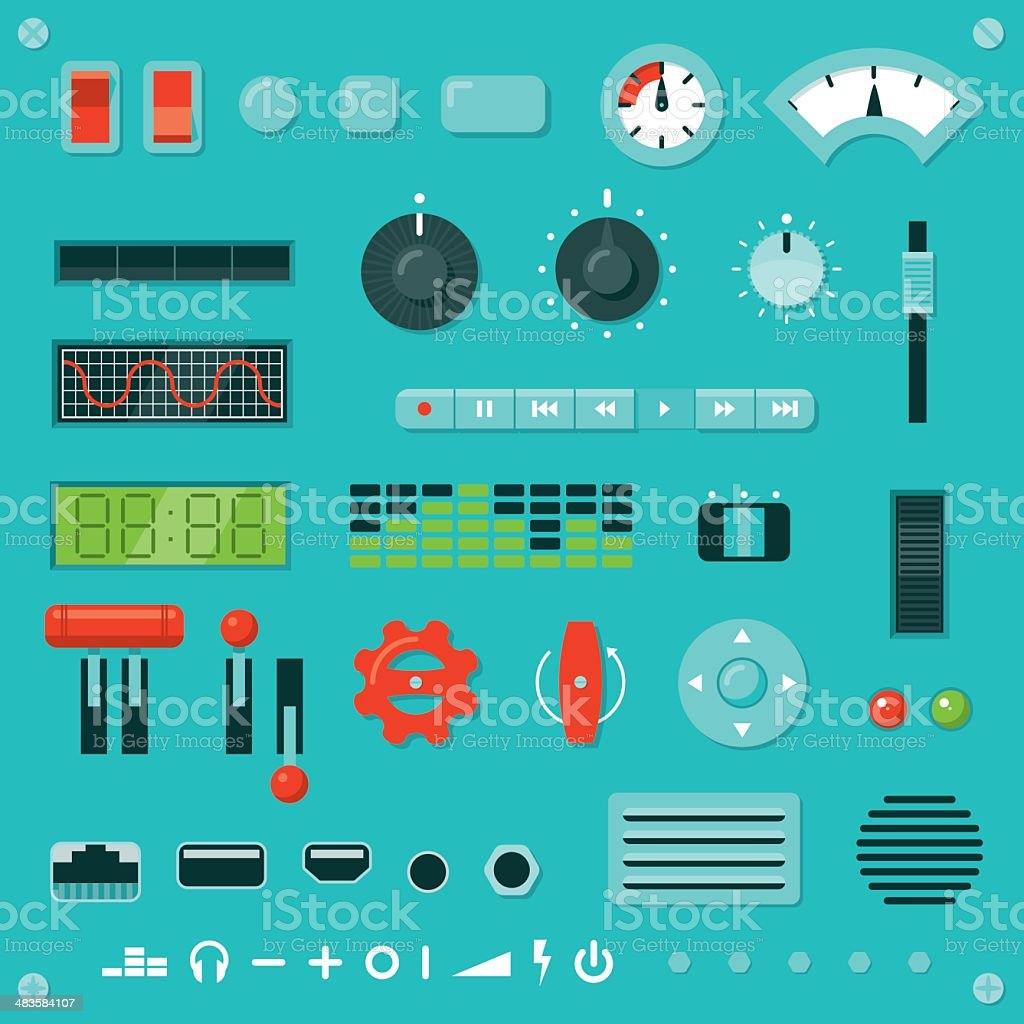 Knobs, Buttons, Levers, etc. vector art illustration