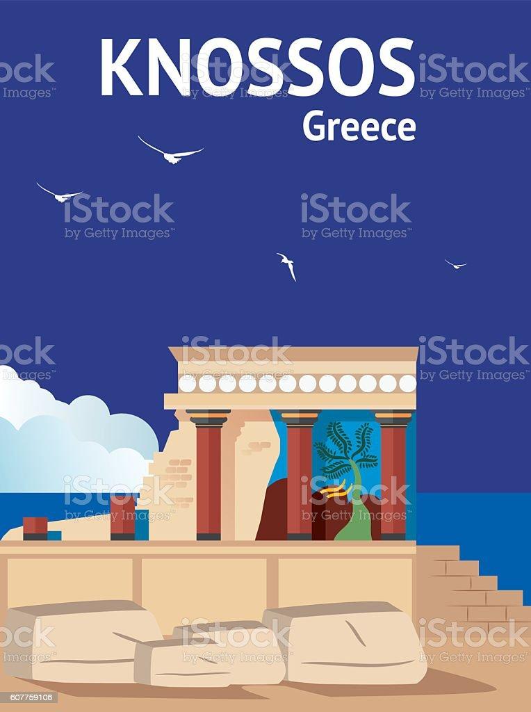 Knossos (Cretan) vector art illustration