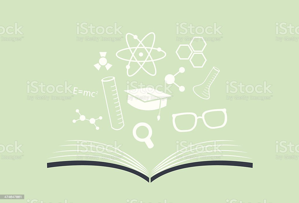 Knowledge Book with science icons vector art illustration