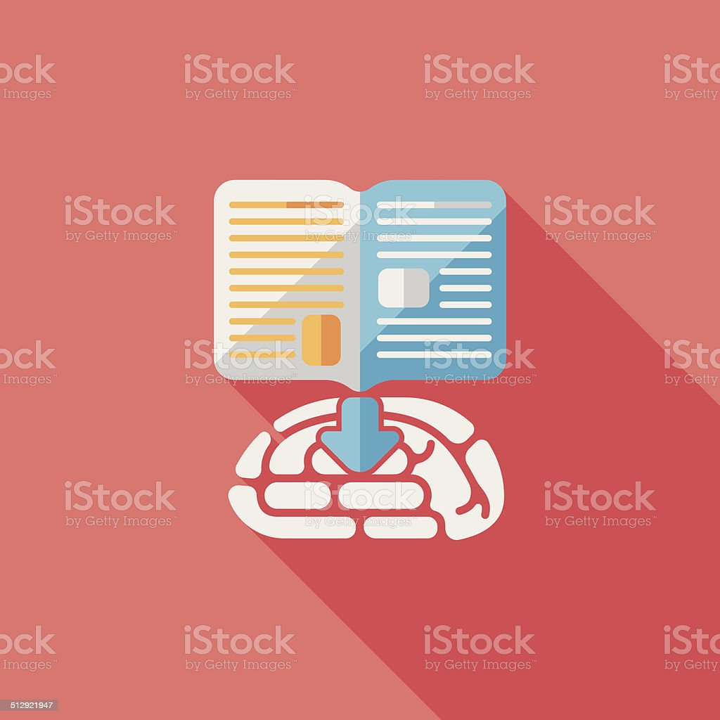 knowledge flat icon with long shadow,eps10 vector art illustration