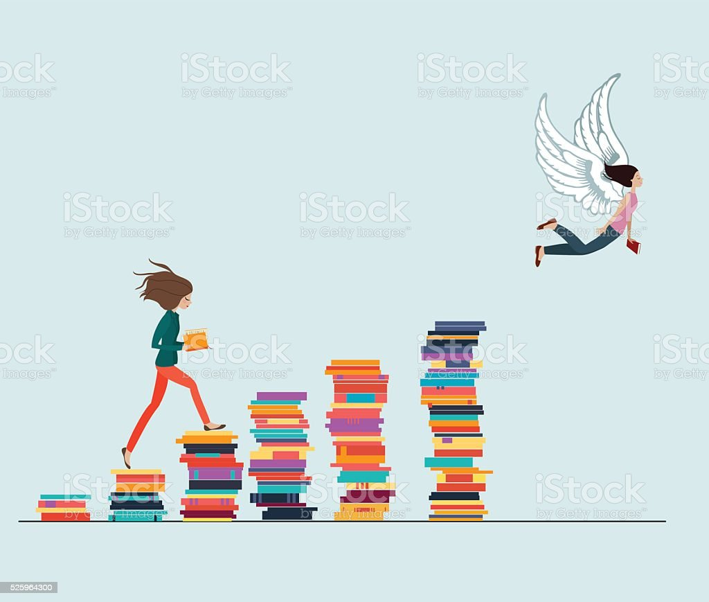 Knowledge Gives Wings vector art illustration
