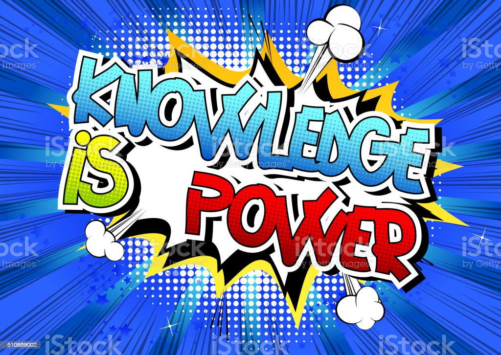 Knowledge is power - Comic book style word. vector art illustration