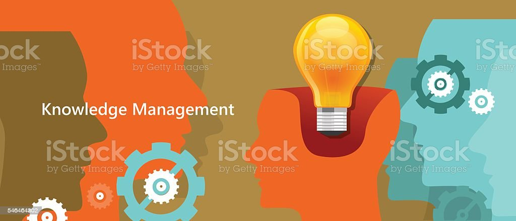 knowledge management concept idea lamp inside brain symbol of strategy vector art illustration