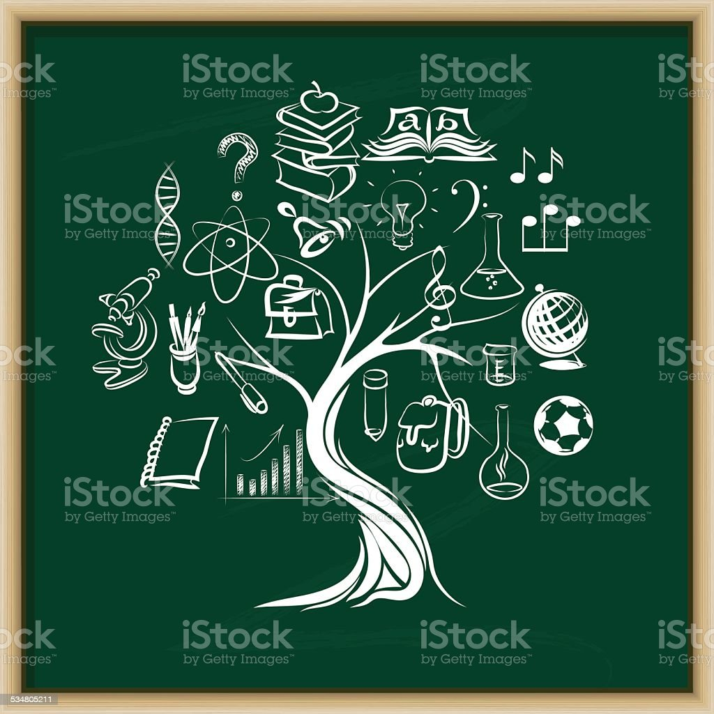 knowledge tree vector art illustration