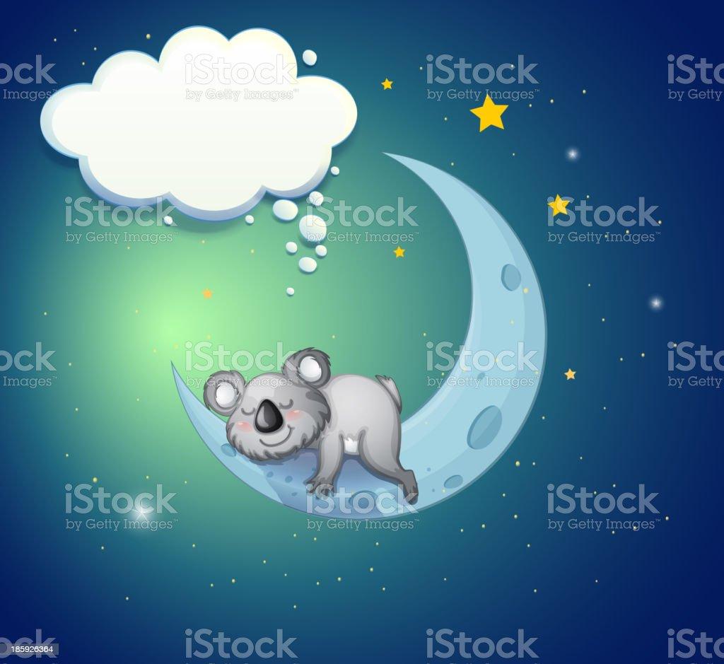 koala bear above the moon royalty-free stock vector art