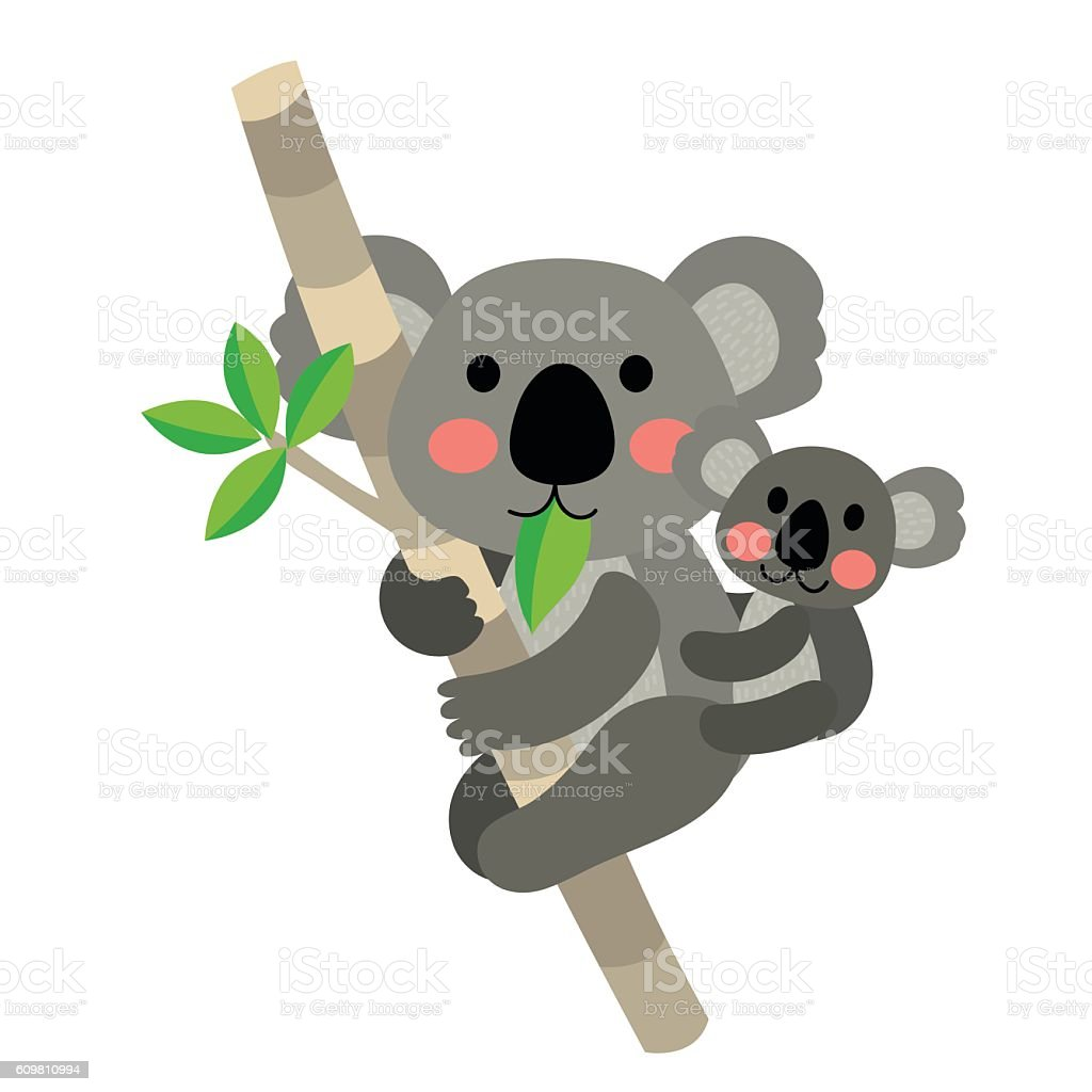 Koala bear and baby koala animal cartoon character vector illustration. vector art illustration