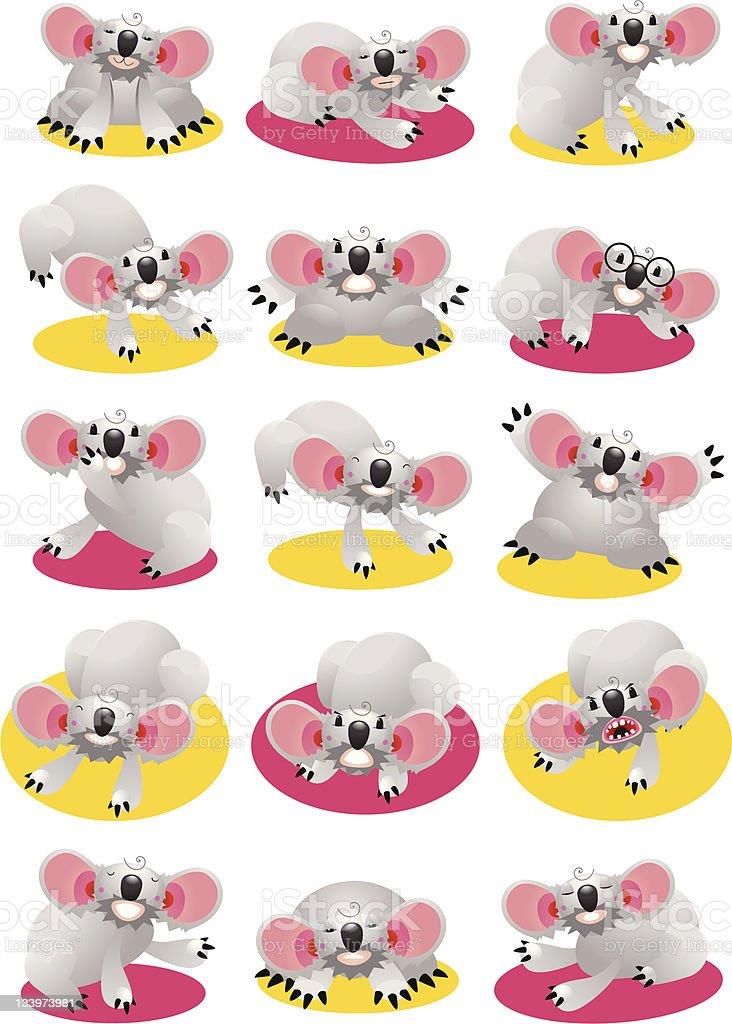 Koala Bear Character Set royalty-free stock vector art