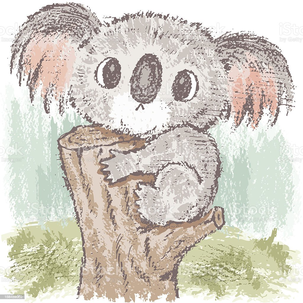 Koala bear on tree vector art illustration