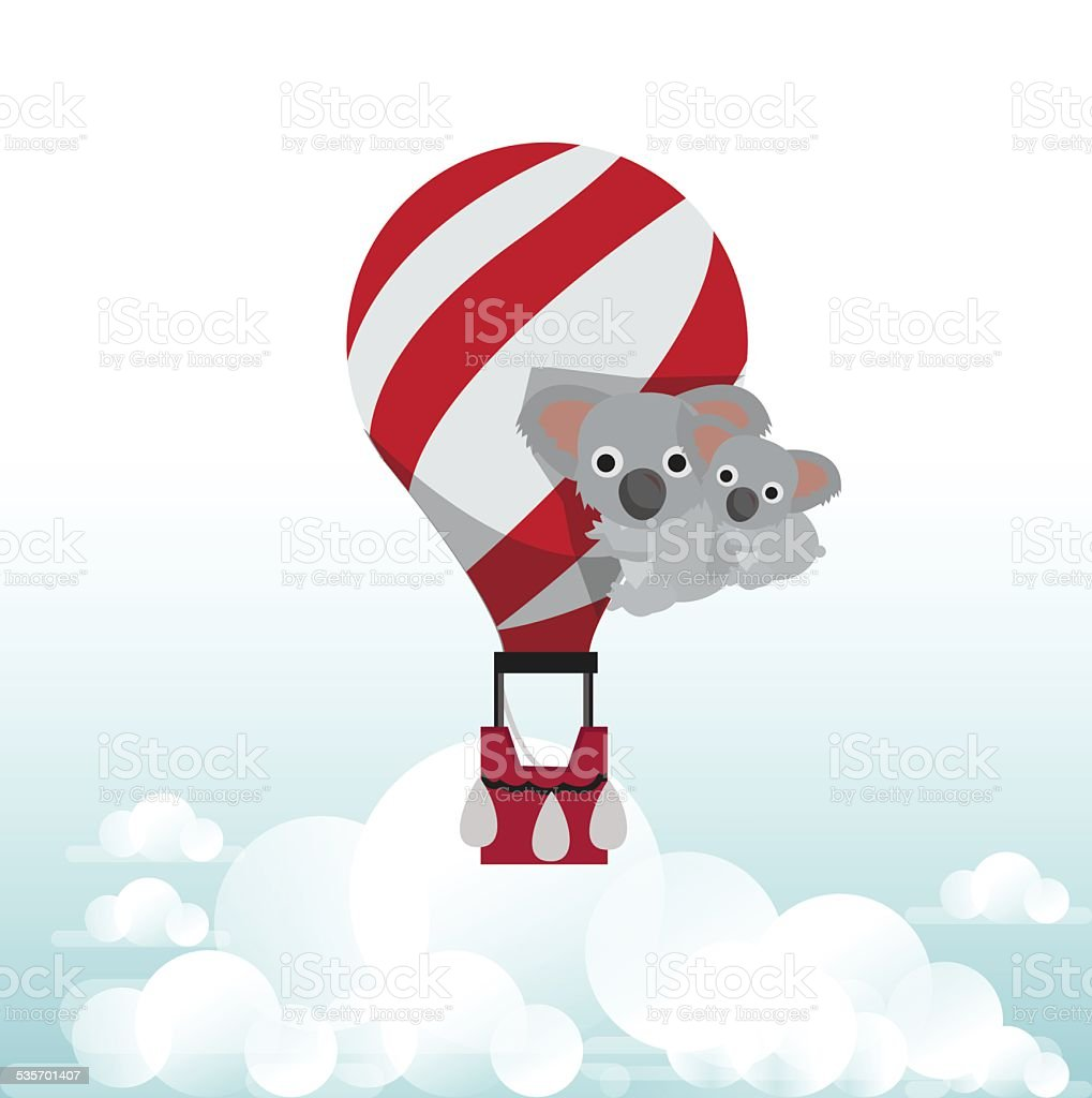 koala bear with balloon - vector illustration vector art illustration