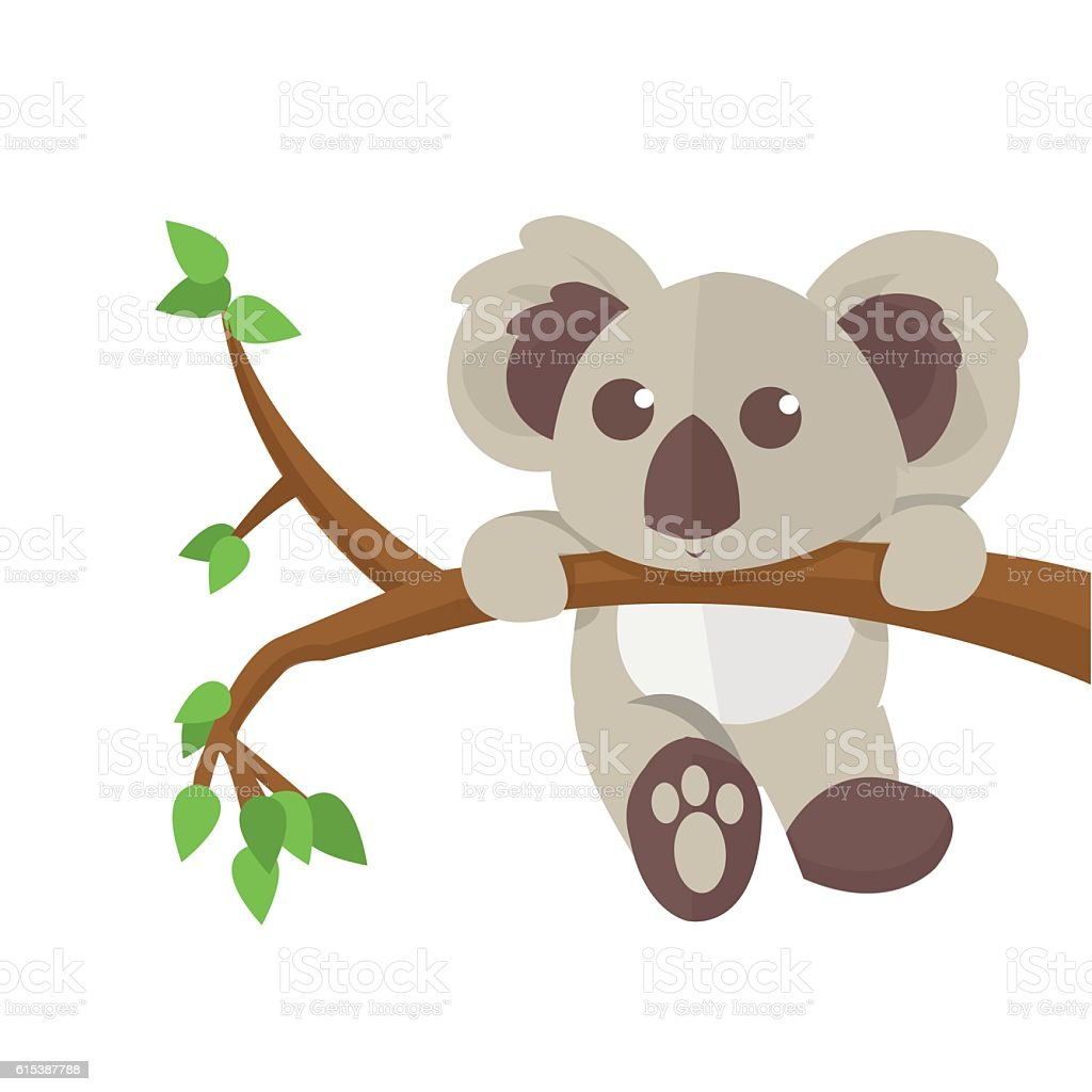 Koala climbing tree animal character.  Vector illustration. vector art illustration