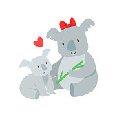 Koala Mom With Red Bow Animal Parent And Its Baby
