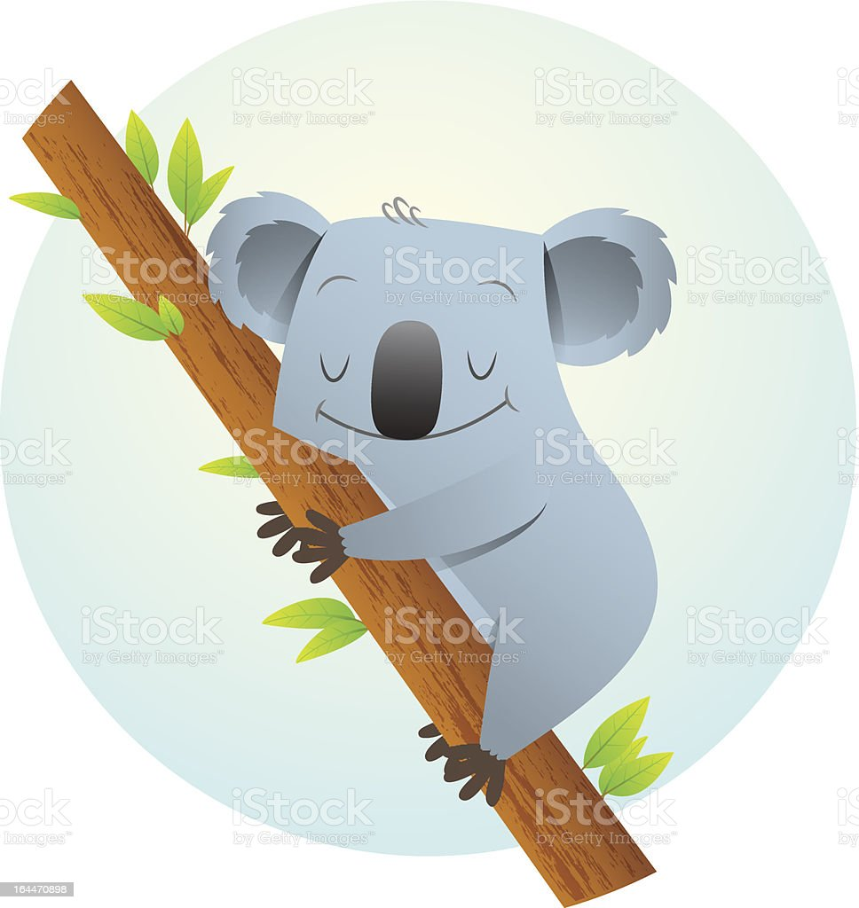 Koala on the tree vector art illustration