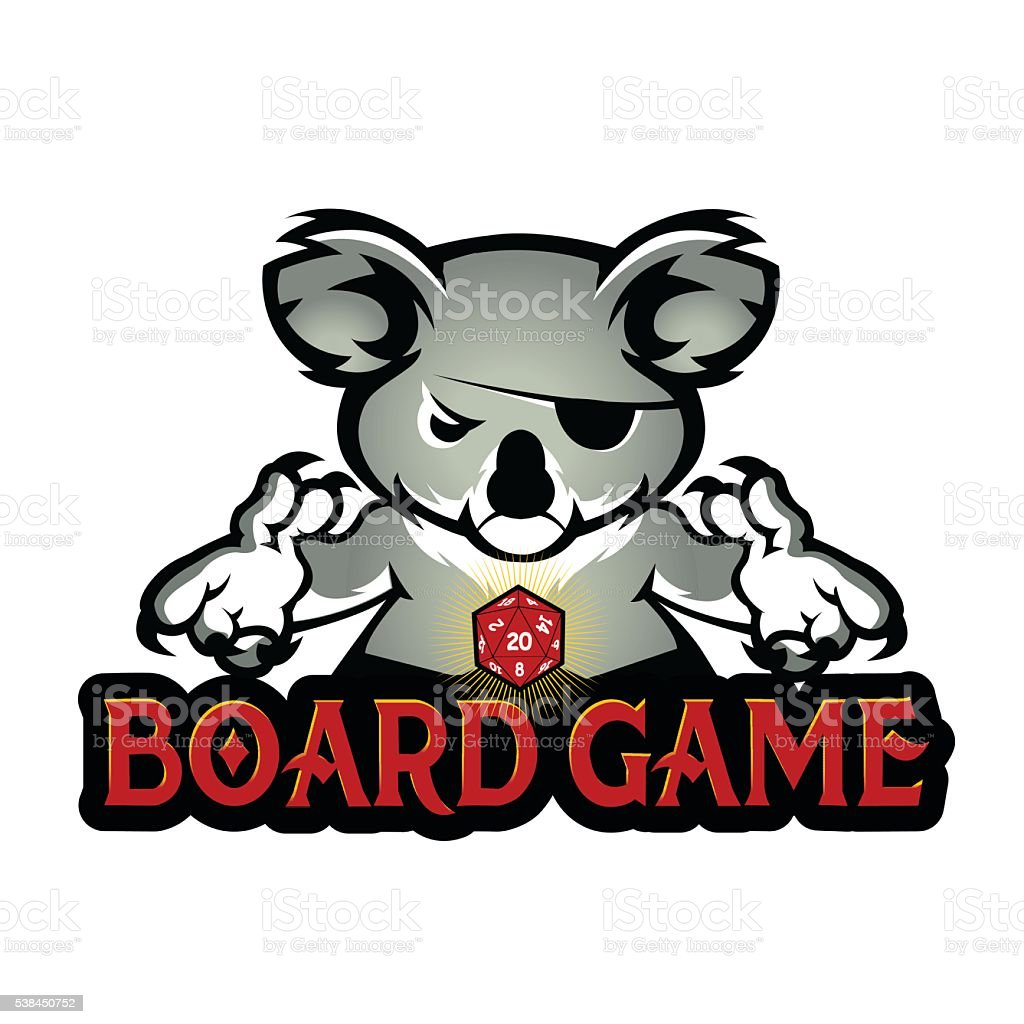 koala playing dice vector art illustration
