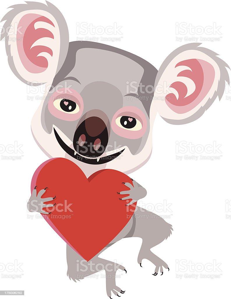 Koala With a Big Heart royalty-free stock vector art